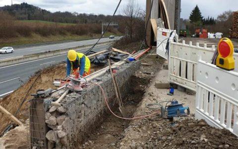 Abbruch einer Brücke an einer Autobahn, nahe Sinsheim  (© Oroslan Kernbohrungen, BBS Technik GmbH)