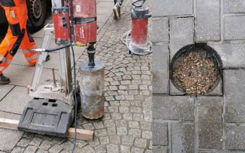 Kernbohrung an einer öffentlichen Straße, in Pflastersteine  (© Oroslan Kernbohrungen, BBS Technik GmbH)